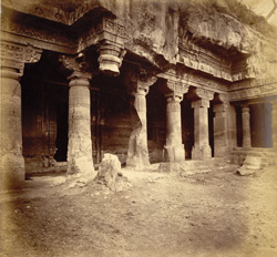 General view from the left of porch and entrance to Buddhist Vihara, Cave I, Ajanta